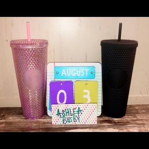 Starbucks Matte Black and Sakura Studded Tumblers